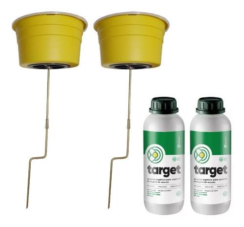 kit 2 armadilha com atrativo mata mosca target orgânico 2 l