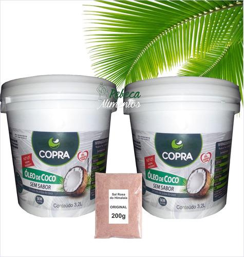 kit 2 - balde óleo de coco sem sabor 3,2l  + sal himalaia