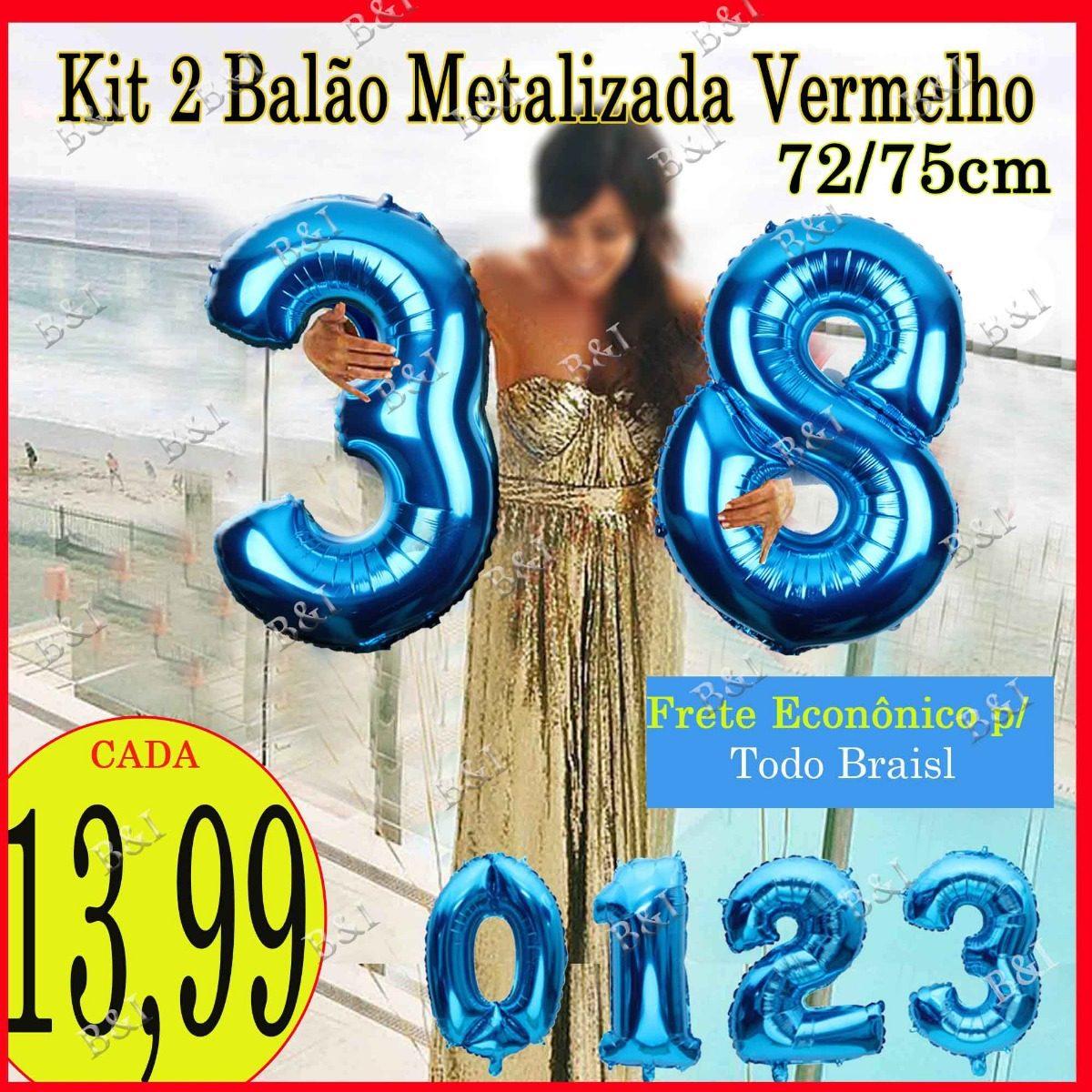 Kit 2 Balão Metalizado Números Azul Royal 72 75cm - R  13,99 em ... 11cc1ec2a4