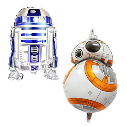kit 2 balões metalizados festa star wars bb8  e r2d2