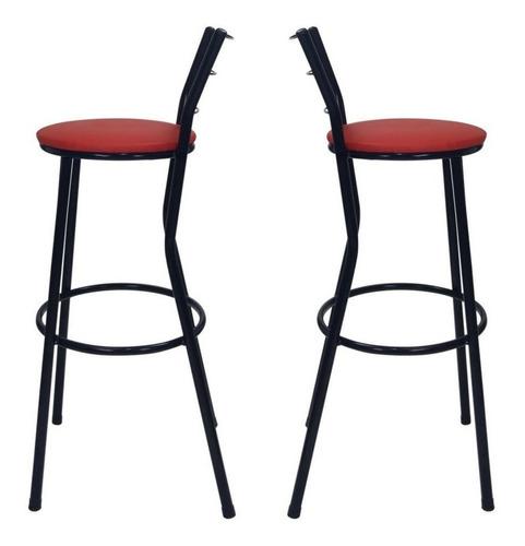 kit 2 banqueta cadeira aço cozinha balcão americano vermelho