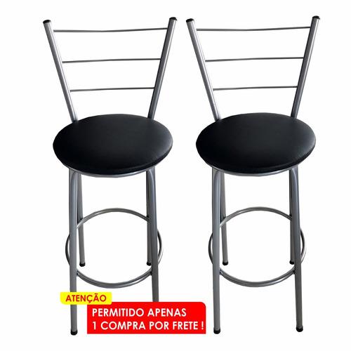 kit 2 banquetas alta bistro bar / cozinha c/ encosto + cores