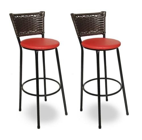 kit 2 banquetas bistrô hawaii rattan junco café e vermelho