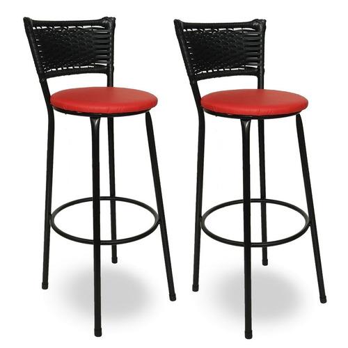 kit 2 banquetas bistrô hawaii rattan junco preto e vermelho