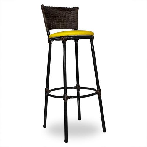 kit 2 banquetas bistrô rattan junco capuccino assento amarel