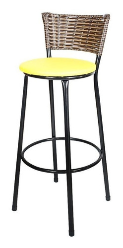 kit 2 banquetas bistrô rattan preto e assento amarelo