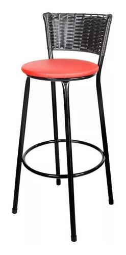 kit 2 banquetas bistrô rattan preto e assento vermelho
