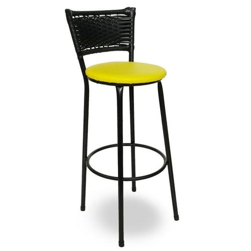 kit 2 banquetas hawaii rattan junco preto assento amarelo