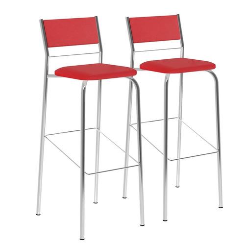 kit 2 banquetas napa vermelho real cromado móveis carraro