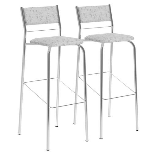 kit 2 banquetas tecil fantasia branco cromado móveis carraro