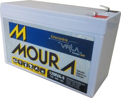 kit 2 baterias 12v 9ah moura equip eletricos, nobreak.