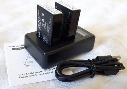 kit 2 baterias lpe17 + carregador duplo canon sl2 t6i t7i m5