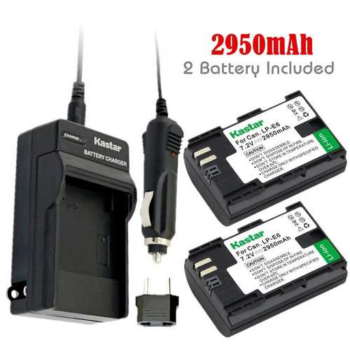 kit 2 baterias y cargador lp-e6 canon 5d mark ii iii 7d 60d