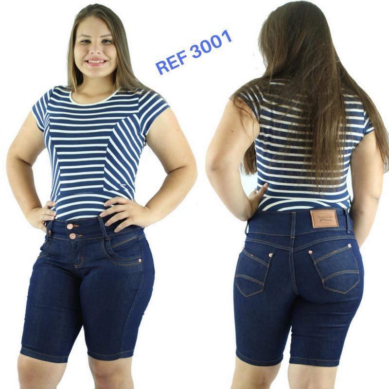 893144fa4 Kit 2 Bermuda Jeans Feminina Cintura Alta Ciclista Plus Size - R ...