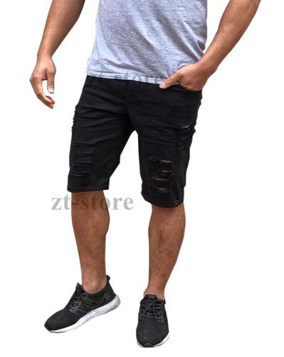 kit 2 bermudas shorts jeans rasgada desfiada destoyed