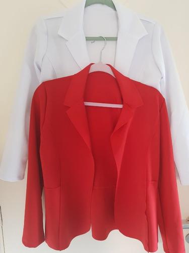 kit 2 blazer neopreno sem babado corte a laser terninho top