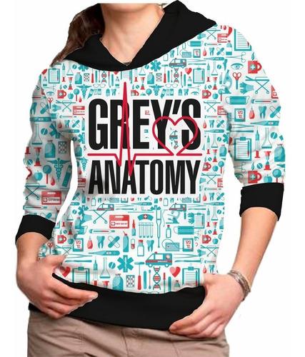 kit 2 blusa feminina grey's anatomy capuz casaco moletom