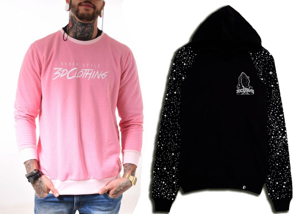 Kit 2 Blusas De Frio Moletom Rosa Raglan Pink Swag Galaxy 3d - R ... b2528652a7a