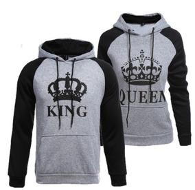 f1525303c85 Kit 2 Blusas Moletom Raglan Casal King Queen Coroa Grande