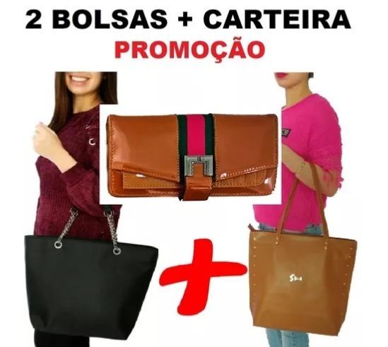 4b219bdc8 Kit 2 Bolsas Feminina + Carteira Com Alça Transversal Barata - R ...