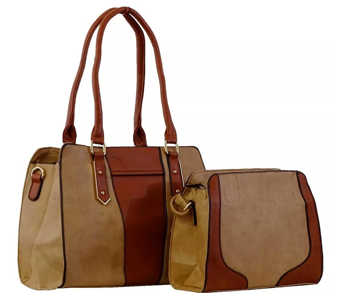 a4c0182dd Kit 2 Bolsas Femininas Couro Sintético Alta Qualidade - R$ 198,00 em ...