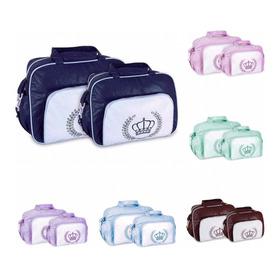 Kit 2 Bolsas Maternidade Bebê Mave Baby Coroa Lisa Atacado