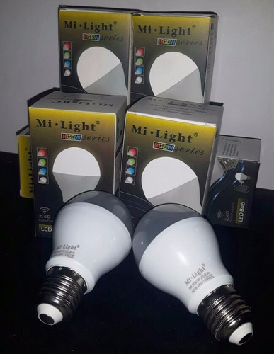 kit 2 bombillos led mi light rgbw + control + modulo wifi