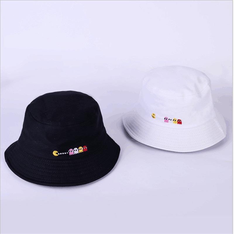 2ba933384e14f Kit 2 Bone Bucket Hat Pacman Preto Branco Novidade Nova Moda - R ...
