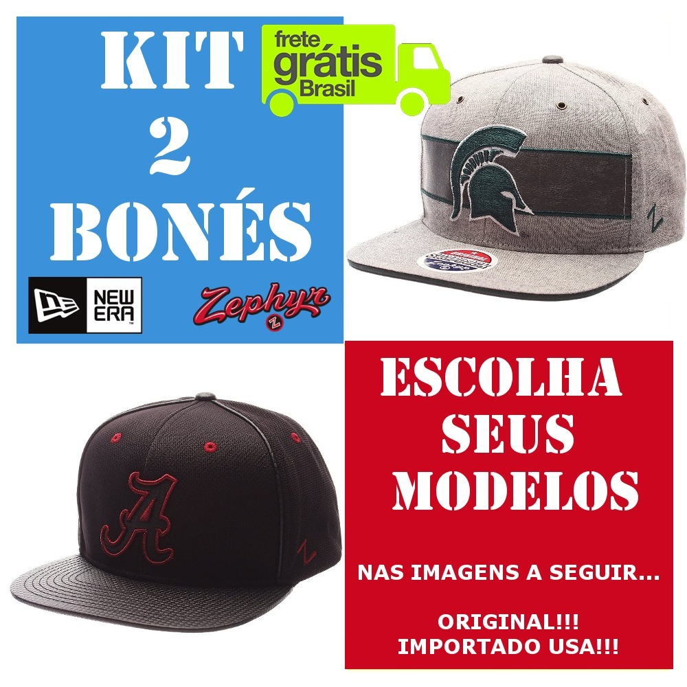 eb3f688ae5 Kit 2 Bonés Aba Reta Marca Regulável New Era Usa Original - R$ 109 ...