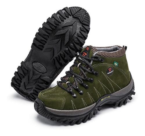 kit 2 bota adventure em couro coturno p trekking bergally