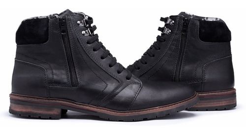 kit 2 bota casual coturno em couro legitimo masculino  zíper