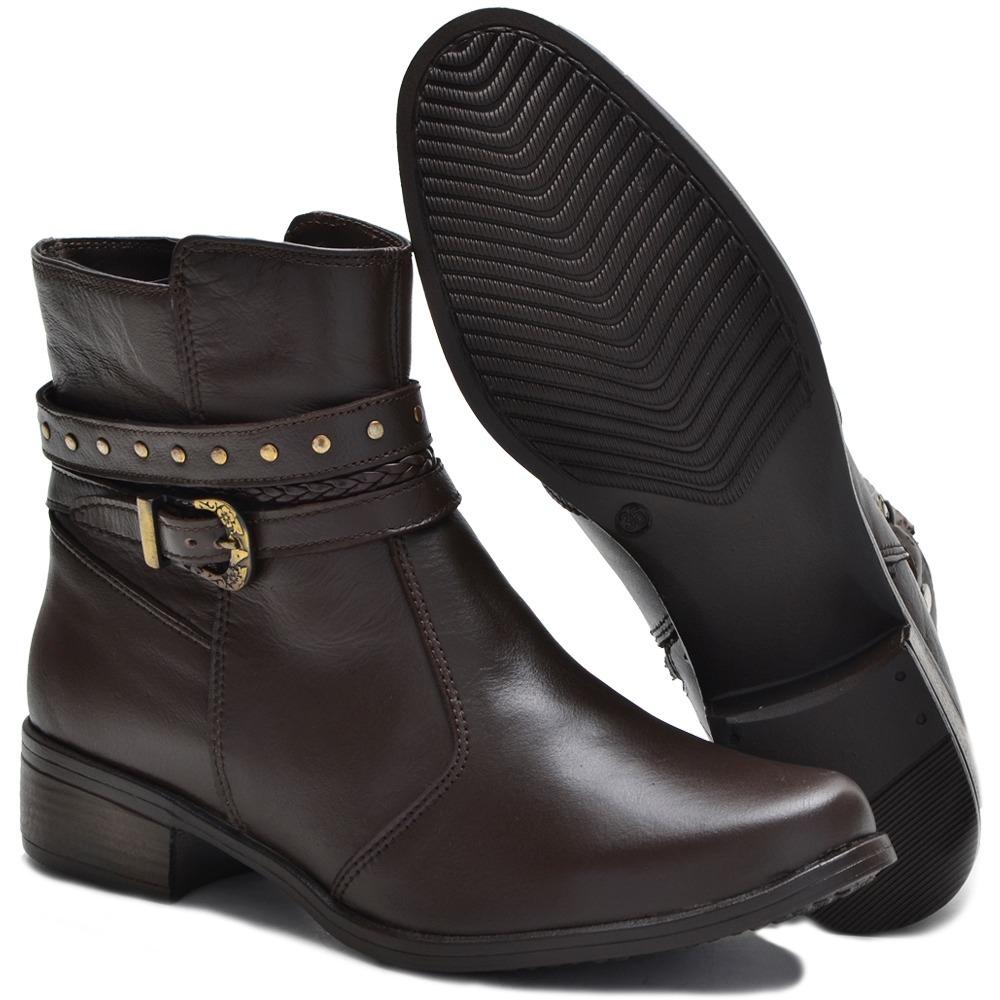 df28dd111 kit 2 botas feminina em couro legítimo cano curto + bolsa. Carregando zoom.