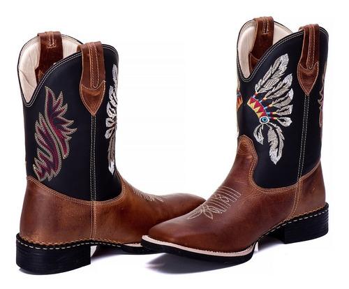 kit 2 botina country masculina texana cano alto índio 240