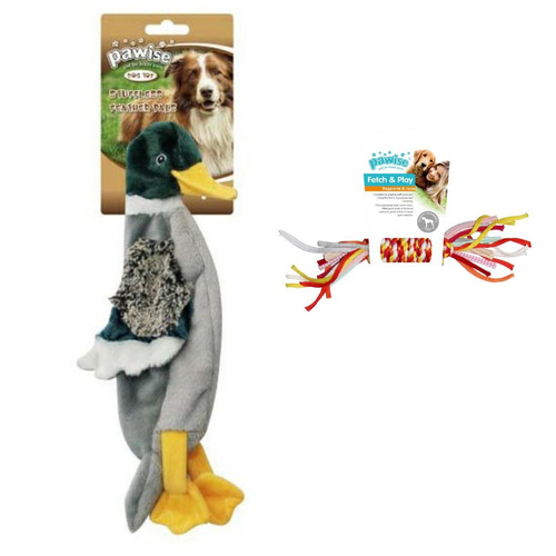 kit 2 brinquedos c/ pato pelúcia e corda p/ cachorro pawise