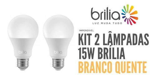 kit 2 bulbo led 15w brília branco quente - 439807