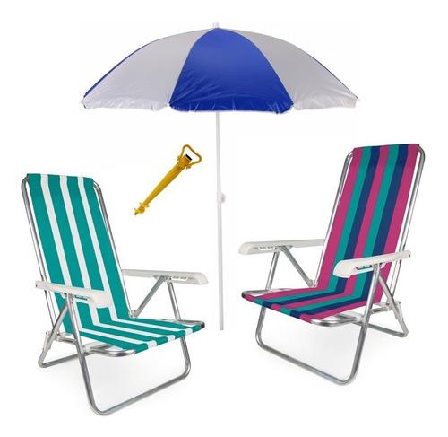 kit 2 cadeira alum 4 pos. reclinável + saca areia guarda sol