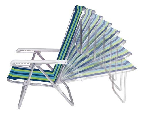 kit 2 cadeira alum reclinável 8 pos. + guarda sol aço - mor
