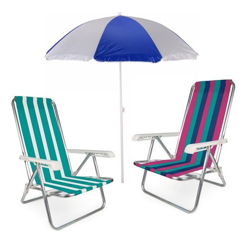 kit 2 cadeira alumínio 4 pos. reclinável + guarda sol 1,80 m
