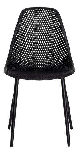 kit 2 cadeiras ana base metal galvanizado preta sala cozinha