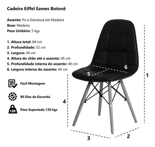 kit 2 cadeiras eiffel botonê eames base madeira várias cores