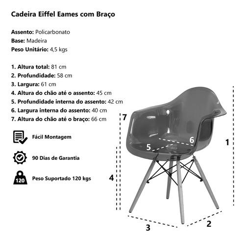 kit 2 cadeiras eiffel c/braço transparente base madeira