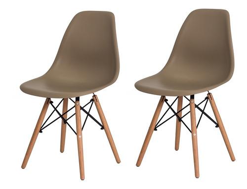 kit 2 cadeiras eiffel eames base madeira várias cores