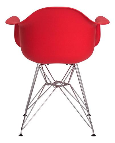 kit 2 cadeiras eiffel eames c/ braço base cromada várias cores