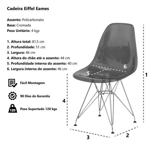 kit 2 cadeiras eiffel eames dsr base cromada várias cores