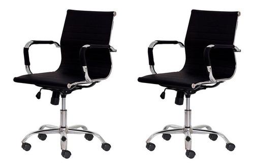 kit 2 cadeiras escritório stripes diretor pu várias cores