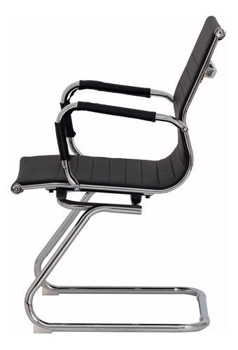 kit 2 cadeiras escritório stripes fixa pu preta