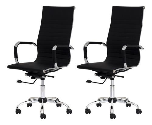 kit 2 cadeiras escritório stripes presidente pu várias cores