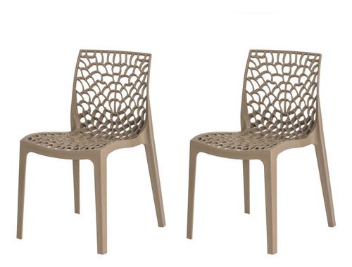 kit 2 cadeiras gruvyer empilhável inmetro várias cores