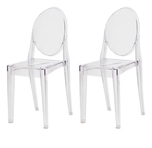 kit 2 cadeiras victoria ghost policarbonato várias cores