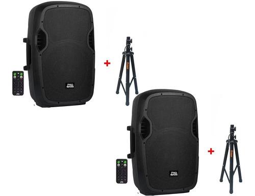 kit 2 caixas de som ampli ativa -15 probass bt/800w+ 2 tripe